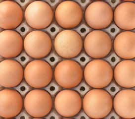 top view of brown chicken eggs in box