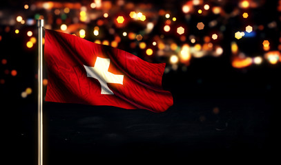 Switzerland National Flag City Light Night Bokeh Background 3D