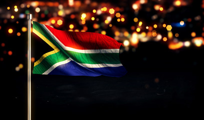 South Africa National Flag City Light Night Bokeh Background 3D