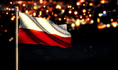 Poland Flag City Light Night Bokeh Background 3D
