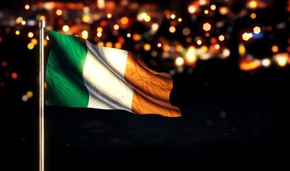 Ireland National Flag City Light Night Bokeh Background 3D