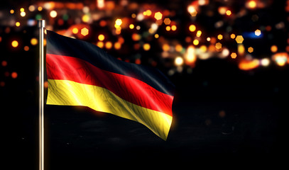 Germany National Flag City Light Night Bokeh Background 3D
