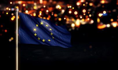 European National Flag City Light Night Bokeh Background 3D