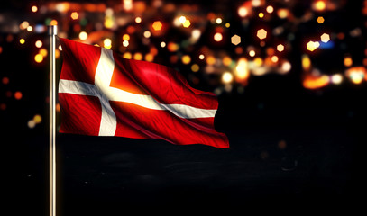 Denmark National Flag City Light Night Bokeh Background 3D