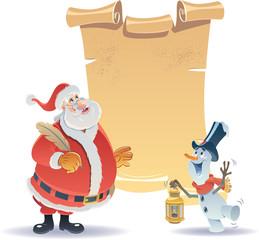 Santa Claus and Little Snowman