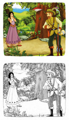 Cartoon scene with hunter and beautiful girl talking - illustration for children
