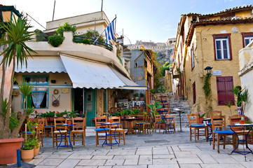 Printed kitchen splashbacks Athens The scenic cafe