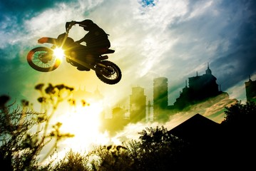 Deurstickers Motorsport Urban Dirt Bike Jump