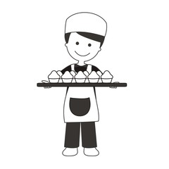 Panadero con bandeja de magdalenas BN