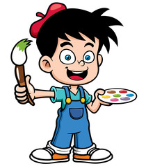 Vector illustration of Cartoon artist boy