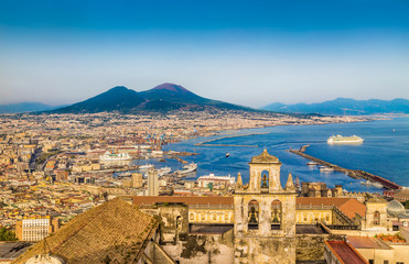 Aerial view of Naples (Napoli) with Mt Vesuvius at sunset, Italy