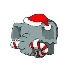 Christmas elephant holding candy cane