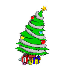 Christmas tree with a star, decorations and several gifts