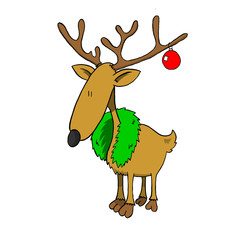 Reindeer with wreath and decoration