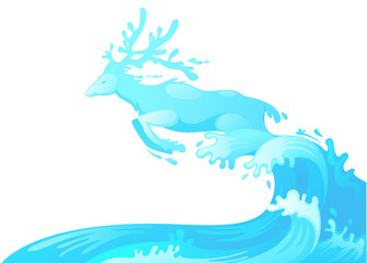 Jumping deer out of water vector