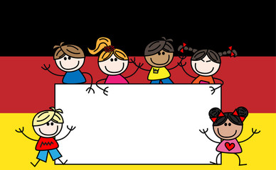 mixed ethnic kids german flag