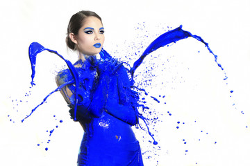High Speed Photography of Woman With Liquid Paint