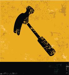 Hammer symbol,grunge vector