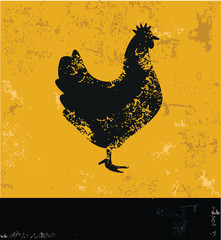 Chicken symbol,grunge vector