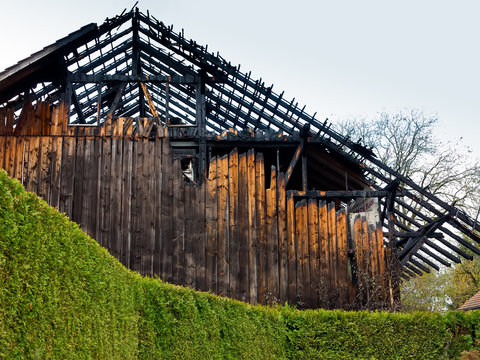 Burned Out Wooden Barn