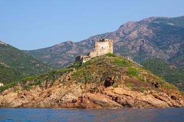 Wall Mural - Girolata Fortress in nature reserve of Scandola, Corsica