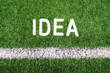 IDEA hand writing text on soccer field grass