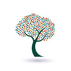 Multicolored circles tree image logo