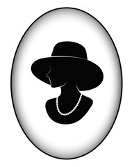 badge silhouette of the glamorous lady