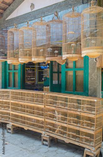 Bamboo bird cages on the bird market in Yogyakarta