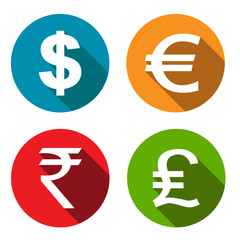 Currency flat icons set