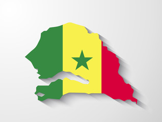 Senegal map with shadow effect presentation