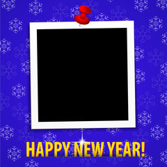 Happy New Year! greeting card with blank photo frame