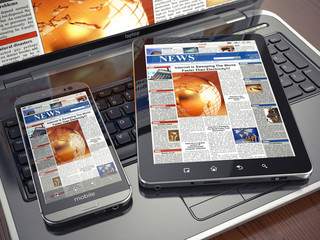 News. Media concept. Laptop, tablet pc and smartphone