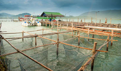 Fish cages on top view; fish cages in the river, Thailand
