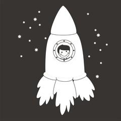 Nave espacial BN fondo oscuro