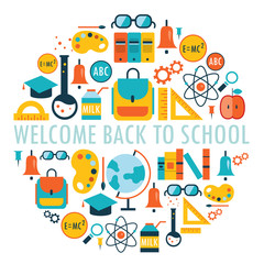 Welcome back to school background. Vector illustration