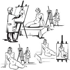 Three nude drawing themes