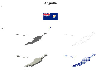 Anguilla blank detailed outline map set
