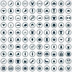 100 clothes icons set.