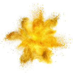 Yellow powder explosion isolated on white