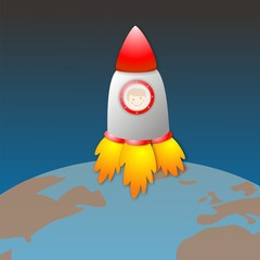 Nave espacial saliendo de la Tierra