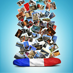 French baguette colors of the French flag and the falling cards