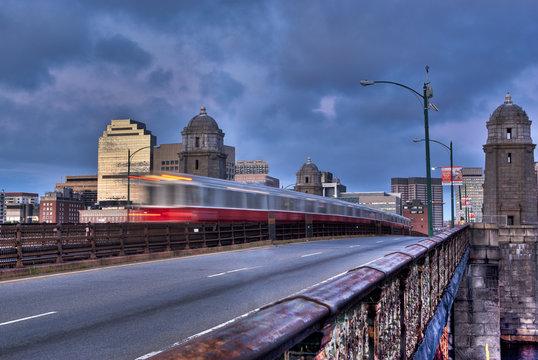 Boston Subway Train Rushng