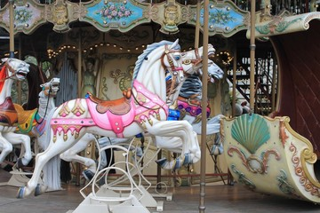 Painted carousel horses, Paris, France