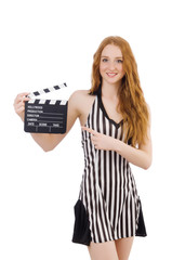 Woman referee with movie clapboard