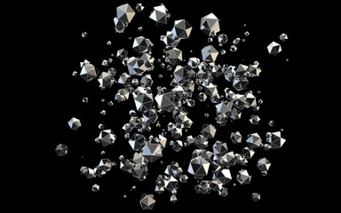Falling 3D diamonds on black background