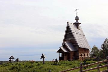 Плес, на горе Левитана. Церковь деревянная.