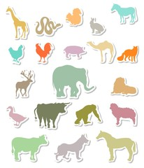 Set of colorful animals silhouettes stickers