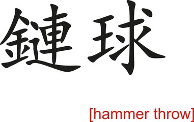 Chinese Sign for hammer throw