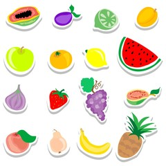 Set of flat fruits stickers icons
